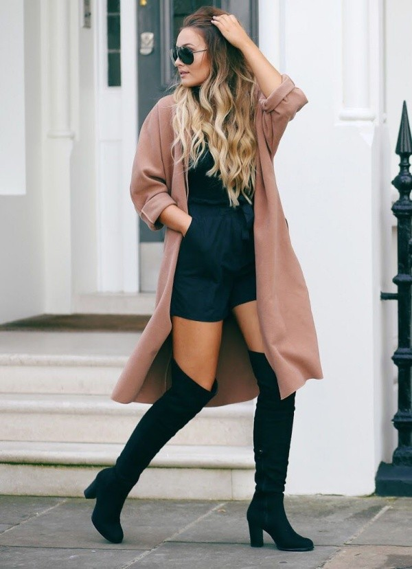 Classy Fall Winter Outfits With High Knee Boots For Women